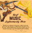 banner of music instruments for shop or store vector image vector image