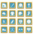 baseball icons azure vector image vector image