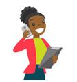 black businesswoman negotiating on smartphone vector image vector image