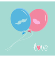 Blue and pink balloons with mustache and lips Love vector image
