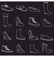 boots and shoes white outline icons set eps10 vector image vector image
