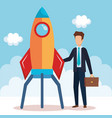 businessman with rocket startup vector image