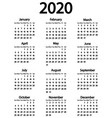 calendar for year 2020 on white vector image