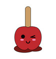 caramelized apple on stick cute kawaii cartoon vector image vector image