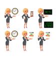 Cartoon blond business woman deadline set vector image vector image