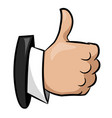 cartoon image of thumb up icon good symbol vector image vector image