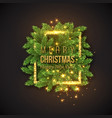 christmas design realistic gold frame with vector image vector image