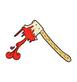 Comic cartoon bloody axe vector image