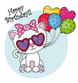 cute cat with sunglasses and balloons vector image
