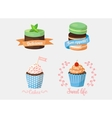 dessert cake and sweetie cupcakes with ribbons vector image vector image