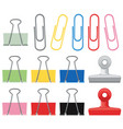 different designs of paperclips in many colors vector image