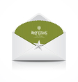 Envelope and green card merry Christmas isolated vector image vector image