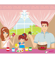 family painting easter eggs vector image vector image