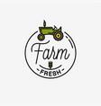 farm fresh logo round linear logo tractor vector image vector image