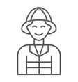 firefighter thin line icon fire and person vector image vector image