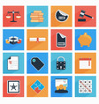 flat business and office icons with long shadow vector image vector image