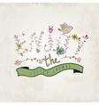 Floral elements of vintage Prase enjoy the little vector image vector image