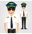 Friendly pilot with sunglasses vector image