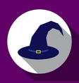 halloween dark blue witch hat flat design with vector image