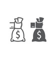 hand holding money line and glyph icon finance vector image vector image