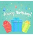 Happy Birthday Greeting Card with gifts and vector image vector image