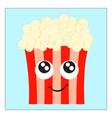 happy popcorn on white background vector image vector image