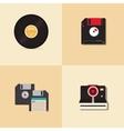 Hispster retro floppy disk camera and vinyl record vector image