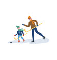 hockey training father with son playing in winter vector image vector image