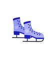 ice-skates with snowflake print blue icon vector image