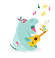 image of a funny hippo playing ukulele vector image