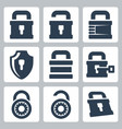isolated lock icons set vector image