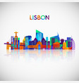 lisbon skyline silhouette in colorful polygonal vector image vector image