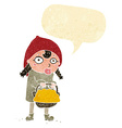 little red riding hood cartoon with speech bubble vector image vector image