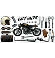 motorcycle repair set tools for cafe racer vector image vector image
