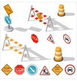 Road barriers and signs isometric detailed icon vector image vector image