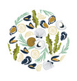 round composition with hand drawn seafood vector image vector image
