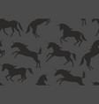 seamless pattern with black unicorns silhouettes vector image