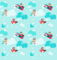 seamless pattern with cute pilot animals vector image vector image