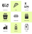 Set of black grocery and food icons vector image vector image