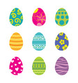 set of easter eggs isolated in white background vector image vector image
