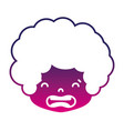 silhouette boy head with curly hair and disgusted vector image vector image