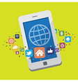 Smartphone with social media icons vector image vector image