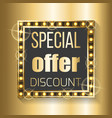 special offer discount in square frame on golden vector image vector image