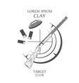sporting clay skeet vintage clay target and gun vector image vector image