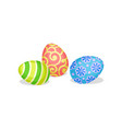 three cute painted easter eggs traditional vector image vector image