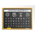 Time management hand drawing line icons chalk vector image