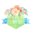 watercolor floral label with banner vector image vector image