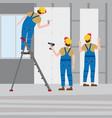 workers put plaster on a stepladder installing vector image vector image