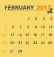 Simple calendar template of february 2017 vector image