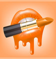 lipstick in mouth vector image